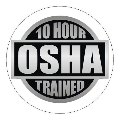 OSHA 10 Hour Trained Hard Hat Sticker - 2 inch Circle