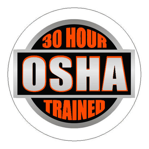 OSHA 30 Hour Trained Hard Hat Sticker Orange - 2 inch Circle