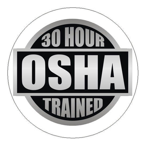 OSHA 30 Hour Trained Hard Hat Sticker - 2 inch Circle