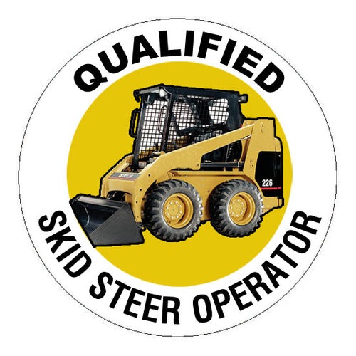 Qualified Skid Steer Operator Hard Hat Sticker - 2 inch Circle