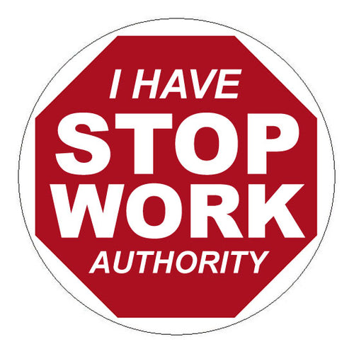 Stop work authority hard hat sticker 2 2 5