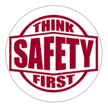 Think Safety First Hard Hat Sticker - 2 inch Circle