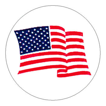 Waving American Flag Hard Hat Sticker - 2 inch Circle