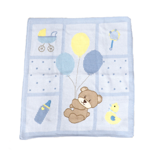 Bear and Balloons Blue Blanket