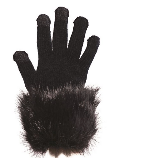 Black Fox Faux Fur- Trimmed Tech Gloves