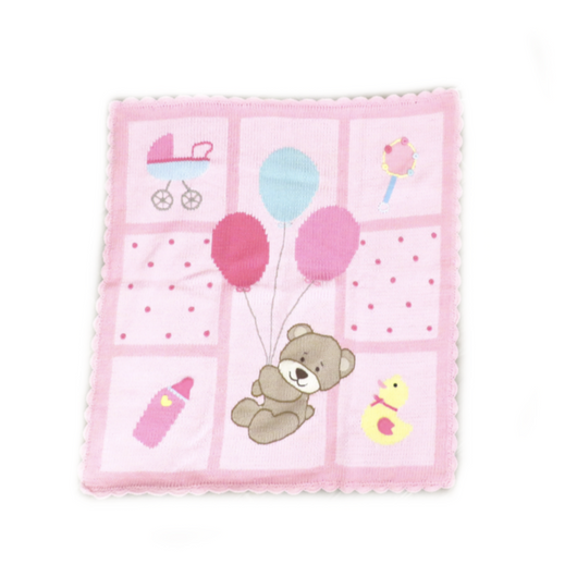 Bear with Balloons Pink Blanket