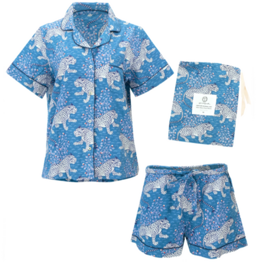 Short Sleeve Pajama Set in Indigo