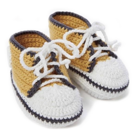 Mustard Hand Crocheted Baby Sneakers