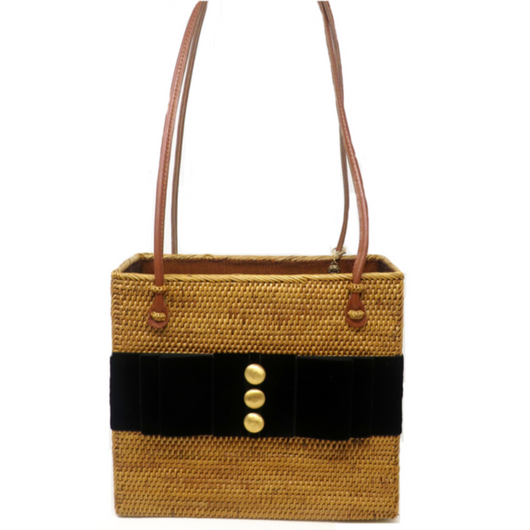 Straw Bag with Black Velvet Band with 3 Buttons
