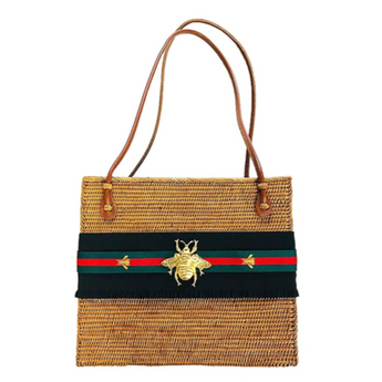 Bee Stripe Straw Bag
