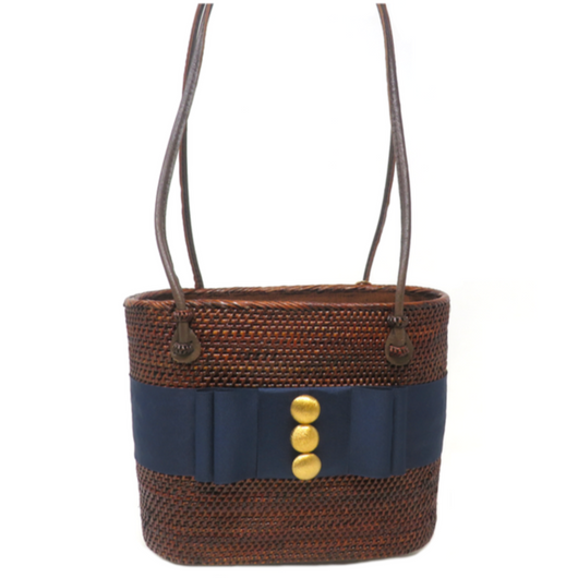 Straw Bag w/Blue Ribbon Band w/3 Buttons