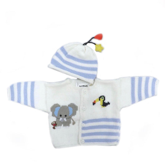 Elephant and Friends Blue Stripe Sweater and Hat