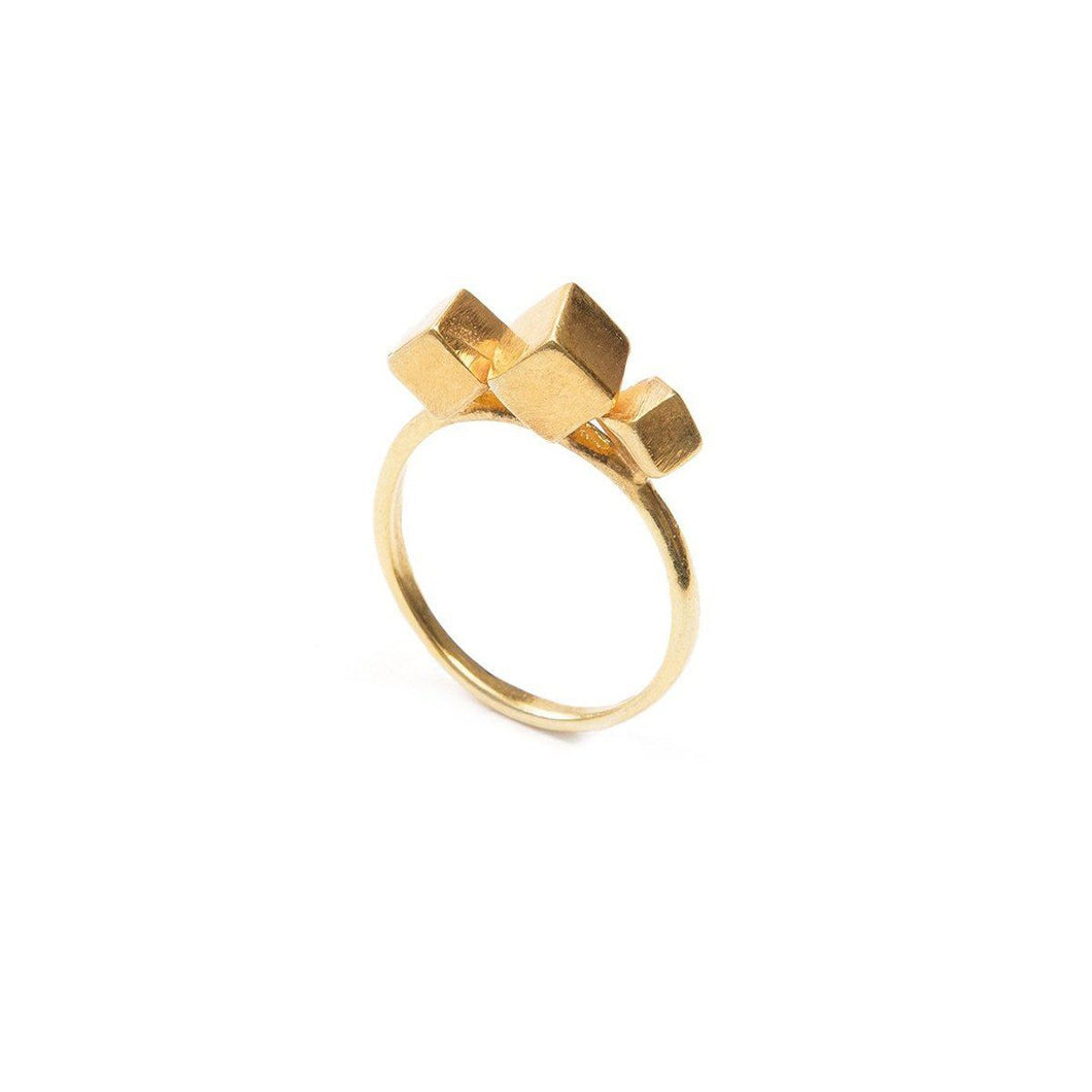 Ring - 3CUBE RING </br><span> 18ct Gold Vermeil</span>