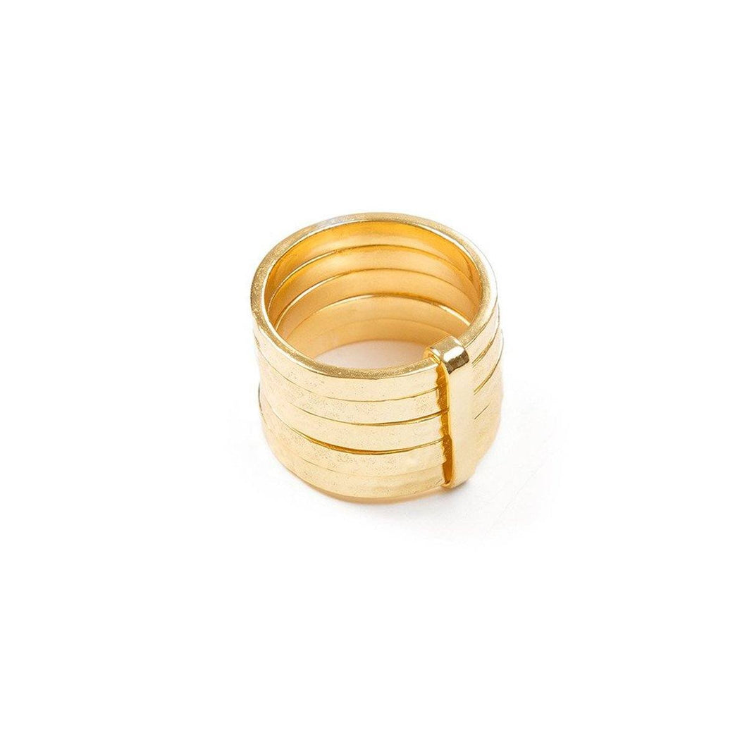 Ring - 5STACK RING </br> 18ct Gold Vermeil