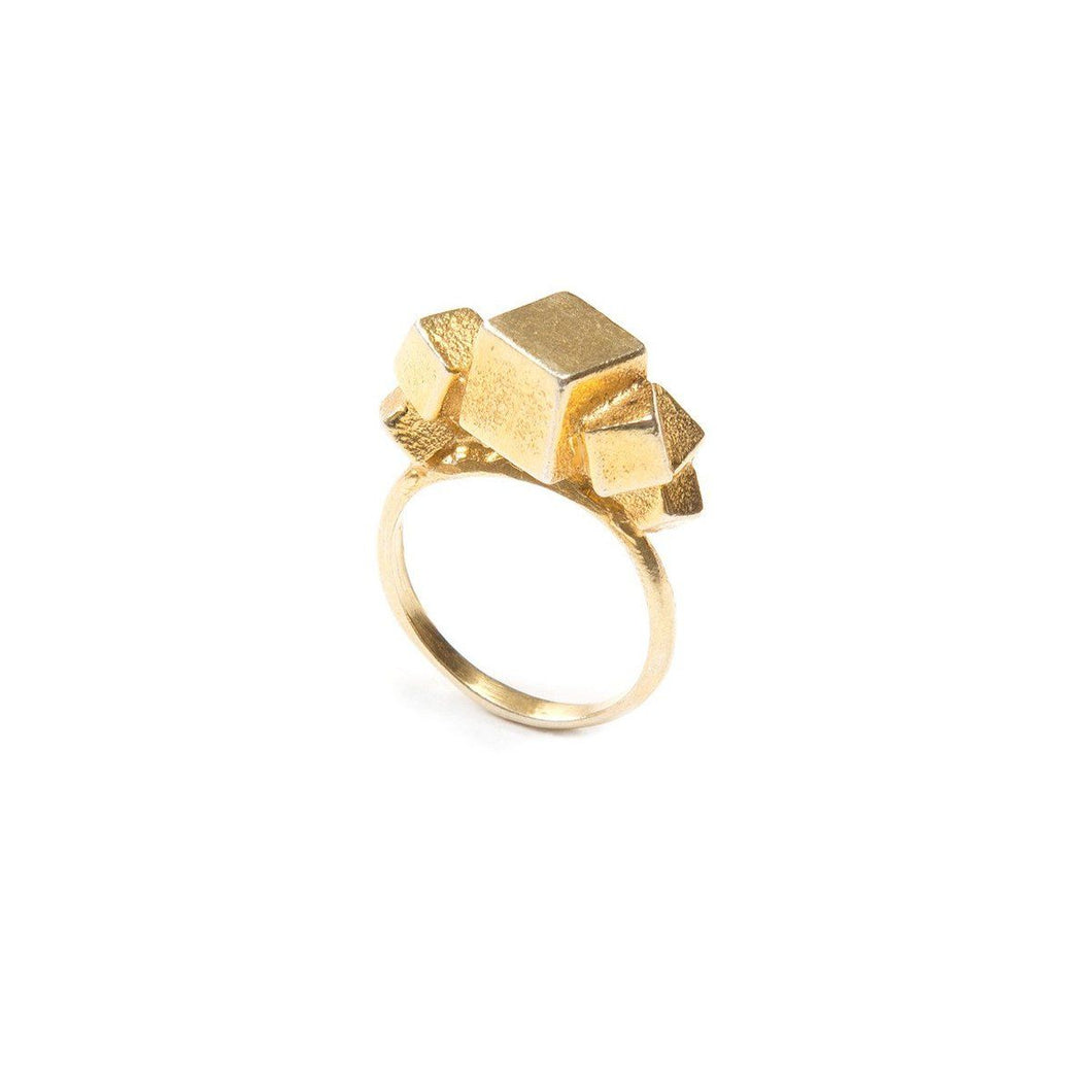 Ring - 7CUBE RING </br> 18ct Gold Vermeil