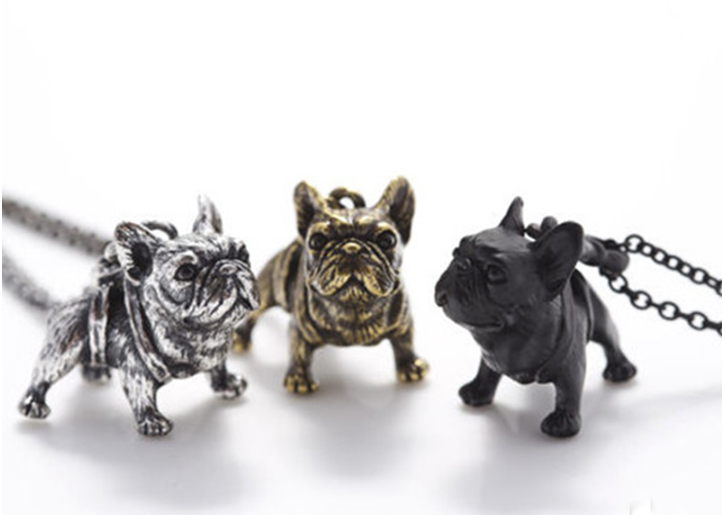 3 Frenchie Antique Bulldog Necklaces