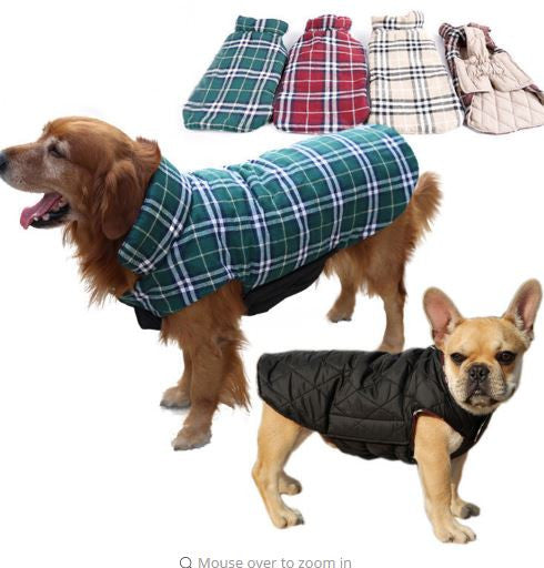 Pubs Plaid Waterproof Reversible Dog Jacket