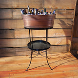 Aspen Pebbled Beverage Tub in Antique Copper Finish with Stand