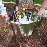 Anchored Double Walled Hammered Steel Beverage Tub