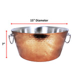 Anchored Double Walled Hammered Steel Beverage Tub in Rose Copper