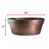 Aspen Hammered Beverage Tub in Antique Copper Finish with 28-inch Stand
