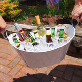 Waved White Galvanized Beverage Tub with Silver Handles - CLOSEOUT!