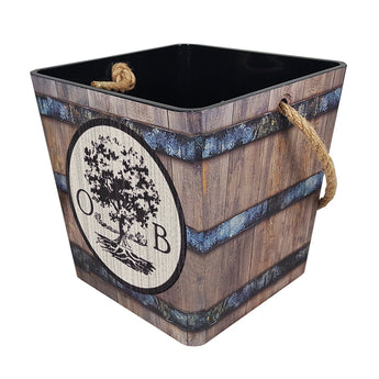 Rustic Wrapped Plastic Bucket with Rope Handle