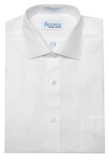 Mens 100% Cotton Non Iron White Pinpoint Barrel Cuff Dress Shirt