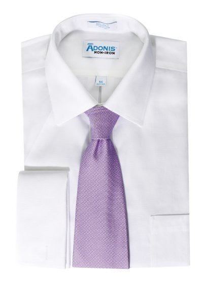 Mens 100% Cotton Non Iron White-on-White Royal Oxford French Cuff Dress Shirt