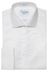 Slim Fit Mens 100% Cotton Non Iron White 'supima twill' French Cuff Dress Shirt