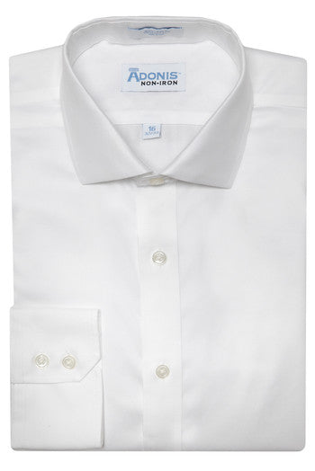 Mens 100% Cotton Non Iron White 'supima twill' Barrel Cuff Dress Shirt