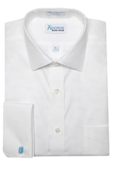 Mens 100% Cotton Non Iron White Pinpoint French Cuff Dress Shirt