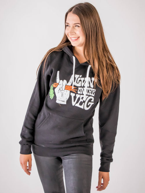 Livin' On The Veg : Hoodie - The Groovy Vegan