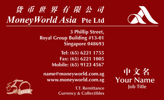 MoneyWorld Asia Corporate Business Cards