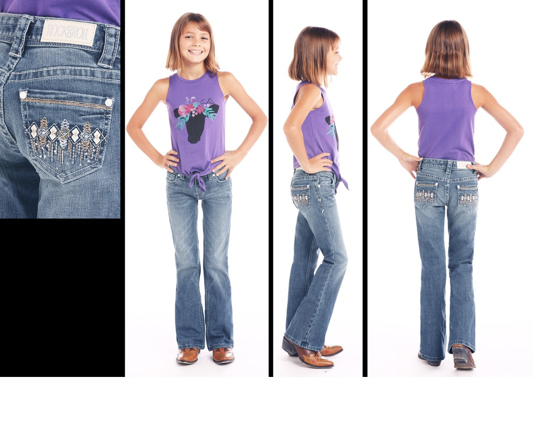 Rock and Roll Cowgirl Girls Boot Cut Jean Multi Thread Embroidery