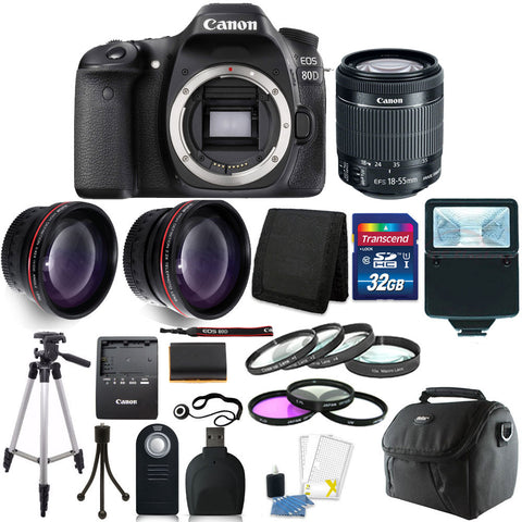 Canon EOS 80D DSLR Camera with 18-55mm Lens and Accessories