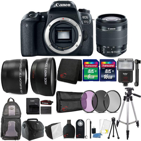 Canon EOS 77D 24.2MP DSLR Camera with 18-55mm Lens , Slave Flash and Accessory Bundle