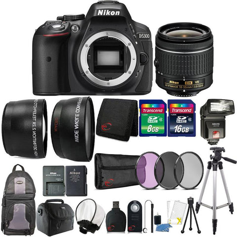 Nikon D5300 24.2MP DSLR Camera with 18-55mm Lens , TTL Flash and 24GB Accessory Bundle