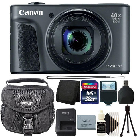Canon Powershot SX730 HS 20.3MP Digital Camera (Black) with 32GB Accessory Bundle