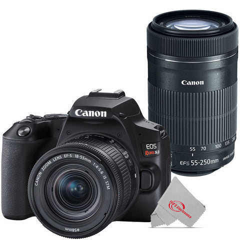 Canon EOS Rebel SL3 Built-in Wi-Fi DSLR Camera with Canon 18-55mm and 55-250mm Lens Premium Kit - Black