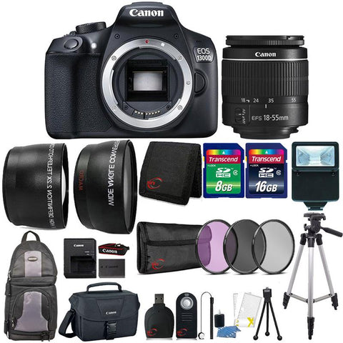 Canon EOS 1300D 18MP Built-In WIFI DSLR Camera with 18-55mm Lens , Canon Camera Case and 24GB Accessory Kit