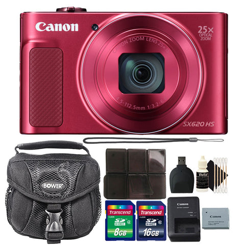 Canon PowerShot SX620 HS 20.2MP Compact Digital Camera Red with Accessory Kit