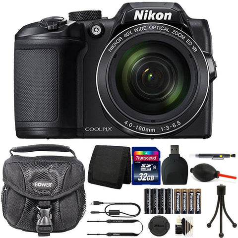 Nikon Coolpix B500 16MP Digital Camera + Extra Batteries + Top Accessories Black
