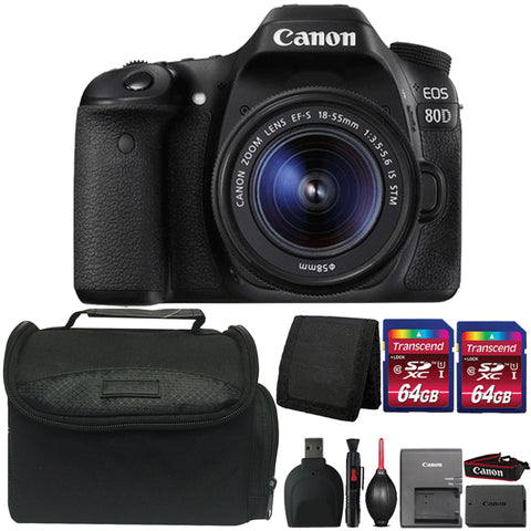 Canon EOS 80D 24.2MP DSLR Camera with 18-55mm Lens and Accessories
