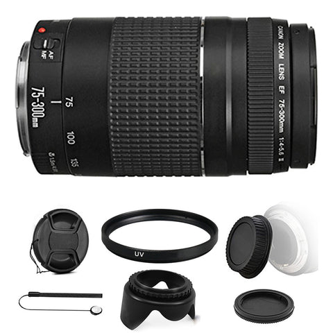Canon EF 75-300mm f/4-5.6 III Telephoto Zoom Lens with Accessory Bundle for Canon SLR Cameras