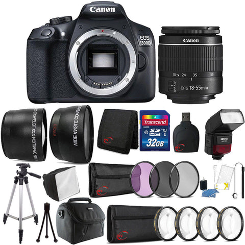 Canon EOS 1300D / Rebel T6 DSLR Camera with 18-55mm III Lens , TTL Speedlite Flash and Accessory Kit