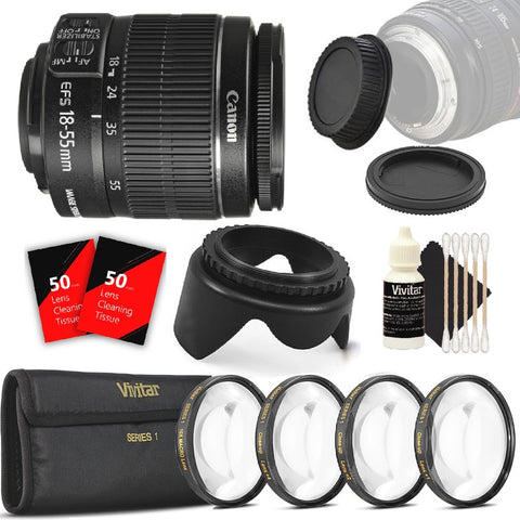 Canon EF-S 18-55mm f/3.5-5.6 IS II Camera Lens + 4 PC Close Up Filters and More Accessories for Canon T5 T6 T5i T6i 70D 80D SL2