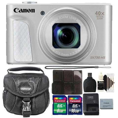 Canon Powershot SX730 HS 20.3MP Digital Camera Silver with Camera Case