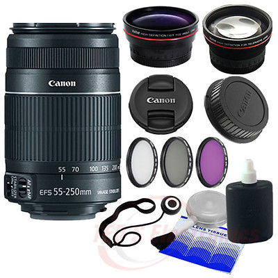 Canon EF-S 55-250mm IS II SLR Camera Lens + Lens attachments and more