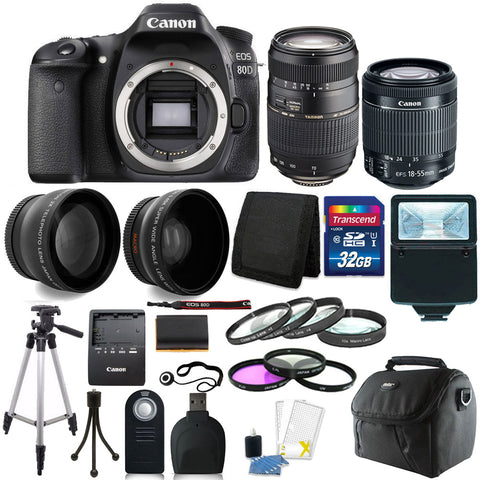 Canon EOS 80D 24.2MP DSLR Camera with 18-55mm Lens , 70-300mm Lens and Accessory Kit